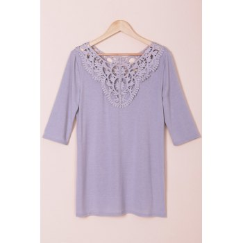 Stylish Solid Color Hollow Out Crochet 3/4 Sleeve T-Shirt For Women