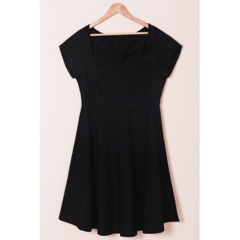 Vintage Style Short Sleeve Sweetheart Neck Plus Size Women's Dress