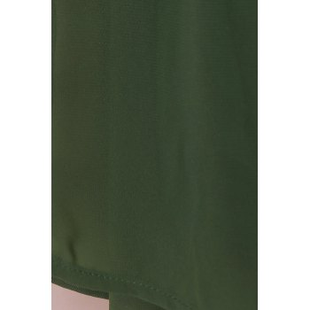 Elegant Women's Scoop Collar Long Sleeves Loose-Fitting Chiffon Dress - GREEN S