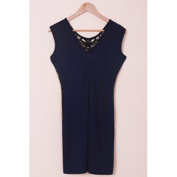 Lace Cut Out Splicing Bodycon Dress For Women - BLUE M