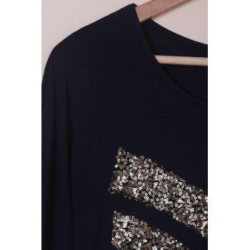 Attractive Sequined Long Sleeve T-Shirt For Women - PURPLISH BLUE S