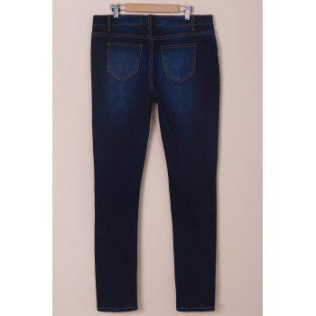 Stylish High-Waisted Women's Jeans - DEEP BLUE M