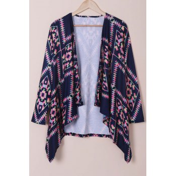 Collarless Long Sleeve Loose Fitting Ethnic Print Cardigan