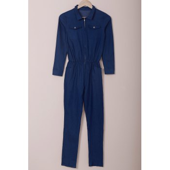 Novelty Turn-Down Collar Half Zippered Long Sleeve Denim Jumpsuit For Women - PURPLISH BLUE L