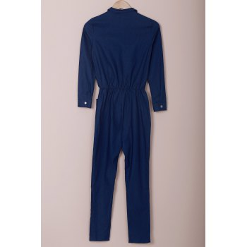 Novelty Turn-Down Collar Half Zippered Long Sleeve Denim Jumpsuit For Women - L L