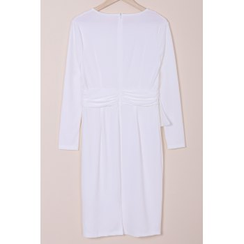 Elegant Round Collar White Long Sleeve Waist Spliced Bodycon Midi Dress For Women - WHITE M