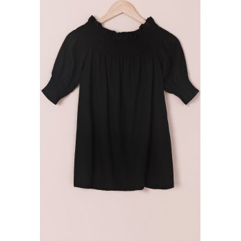 Trendy Off-The-Shoulder 3/4 Sleeve Solid Color Blouse For Women
