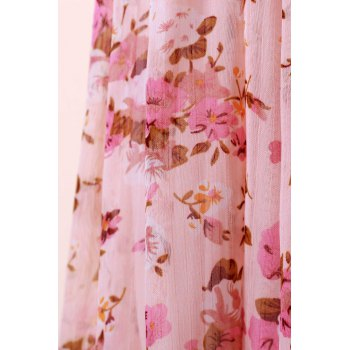 Sweet Splicing Color Tiny Floral Print Beam Waist Dress For Women Women's Dress - PINK ONE SIZE