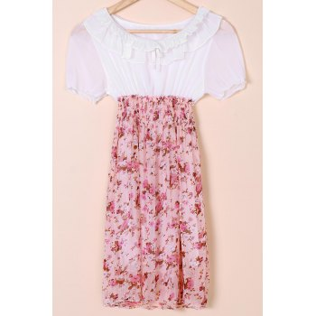 Sweet Splicing Color Tiny Floral Print Beam Waist Dress For Women Women's Dress