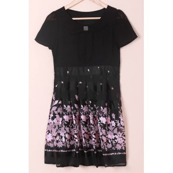 Elegant Peter Pan Collar Floral Print Short Sleeve Chiffon Dress For Women