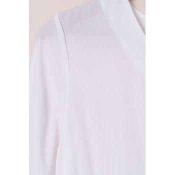 Chic Long Sleeve Plunging Neck Hit Color Women's Dress - WHITE S