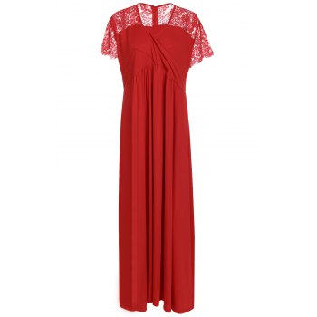 Sexy Plunging Neck Short Sleeve Lace Spliced Solid Color Women's Maxi Dress