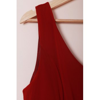 Chic Plunging Neck Pure Color Chiffon Dress For Women - DEEP RED DEEP RED