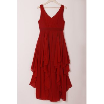 Chic Plunging Neck Pure Color Chiffon Dress For Women - L L