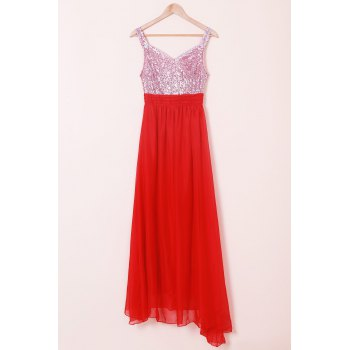 Elegant Sweetheart Neck Sleeveless Color Block Sequined Women's Dress