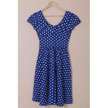 Retro Cap Sleeve Sweetheart Neck Polka Dot Women's Dress