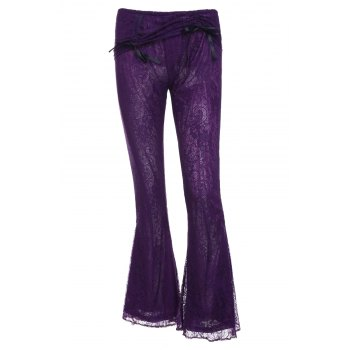 Stylish Elastic Waist Solid Color Boot Cut Women's Lace Pants
