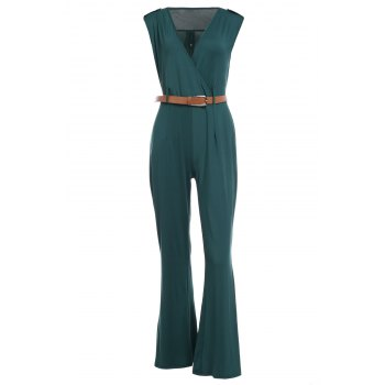 Trendy Sleeveless Plunging Neck Epaulet Solid Color Women's Jumpsuit