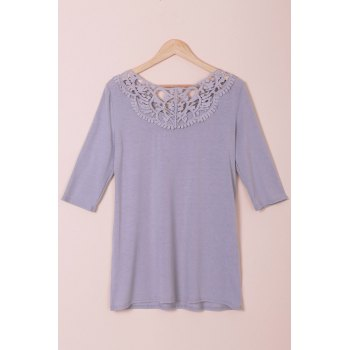 Stylish Solid Color Hollow Out Crochet 3/4 Sleeve T-Shirt For Women - GRAY M