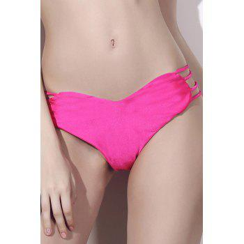 Seamless Heart Pattern Strappy Bikini Briefs Bottom - ROSE M