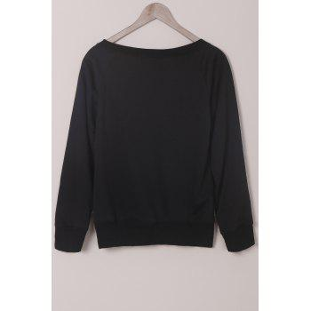 Pure Color Long Sleeve Sweatshirt For Women - BLACK S