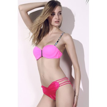 Seamless Heart Pattern Strappy Bikini Briefs Bottom - ROSE ROSE