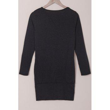 Casual Solid Color Long Sleeve Bodycon T-Shirt Dress For Women - BLACK XL