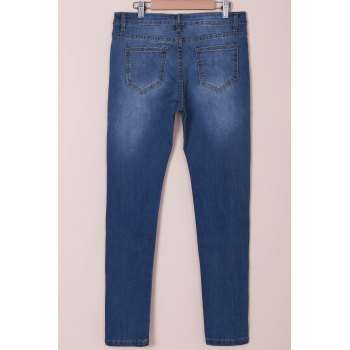 Stylish High-Waisted Women's Jeans - BLUE L