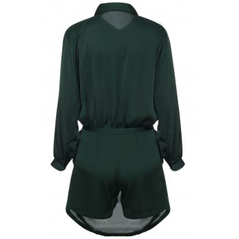 Brief Women's Polo Collar Army Green Long Sleeve Romper - ARMY GREEN XL