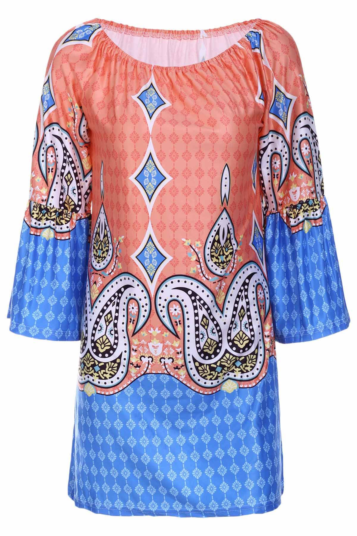 Bohemian Style Women's Scoop Neck Flare Sleeve Printed Dress - ORANGE XL