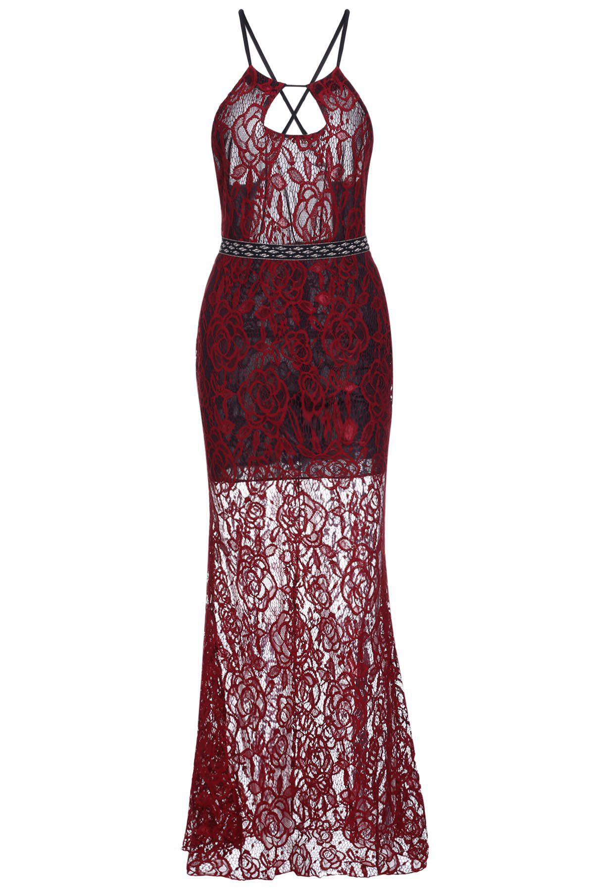 Elegant Backless Breast Hollow Out High Waist Bodycon Lace Maxi Dress For Women - RED S