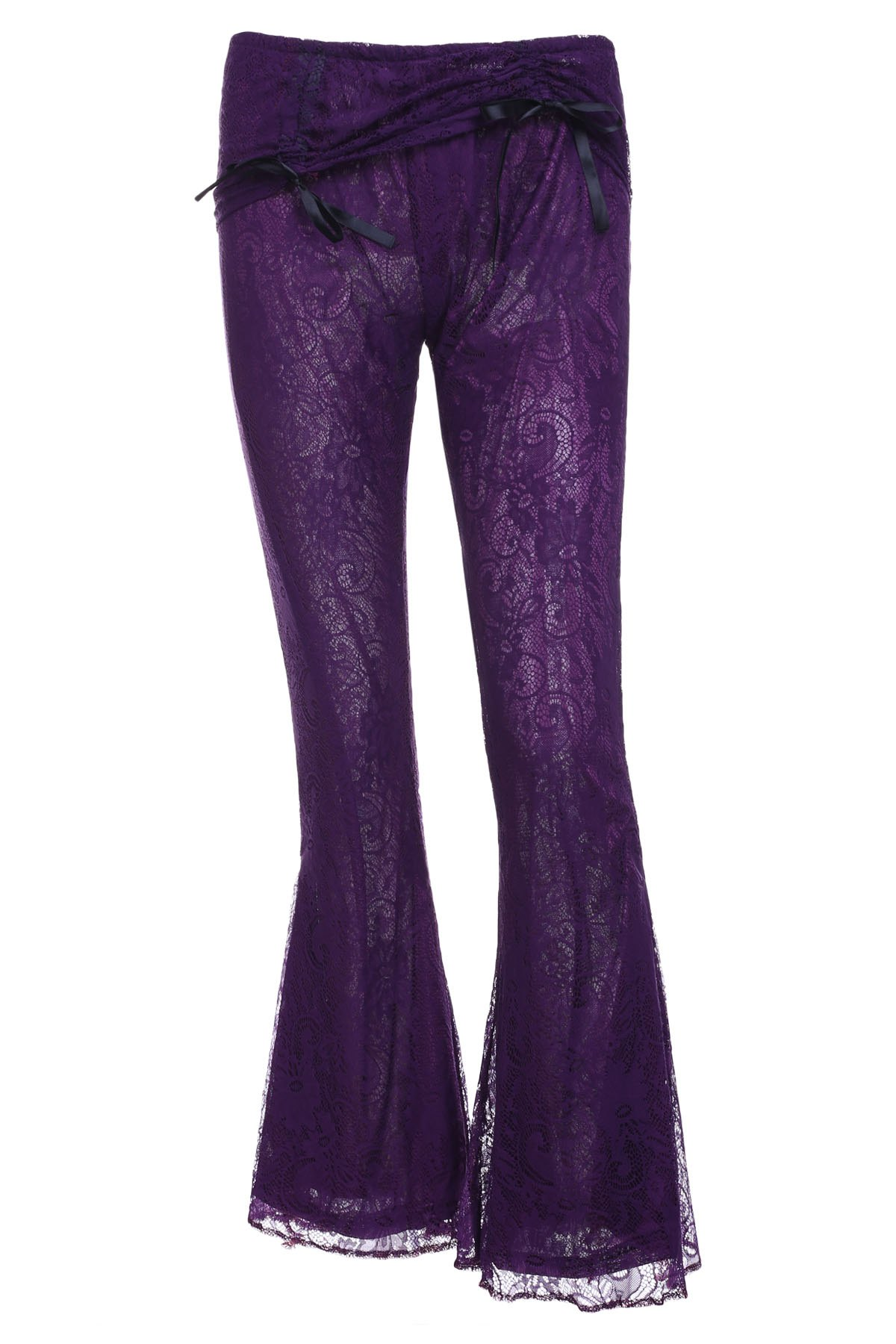 Stylish Elastic Waist Solid Color Boot Cut Women's Lace Pants - PURPLE S
