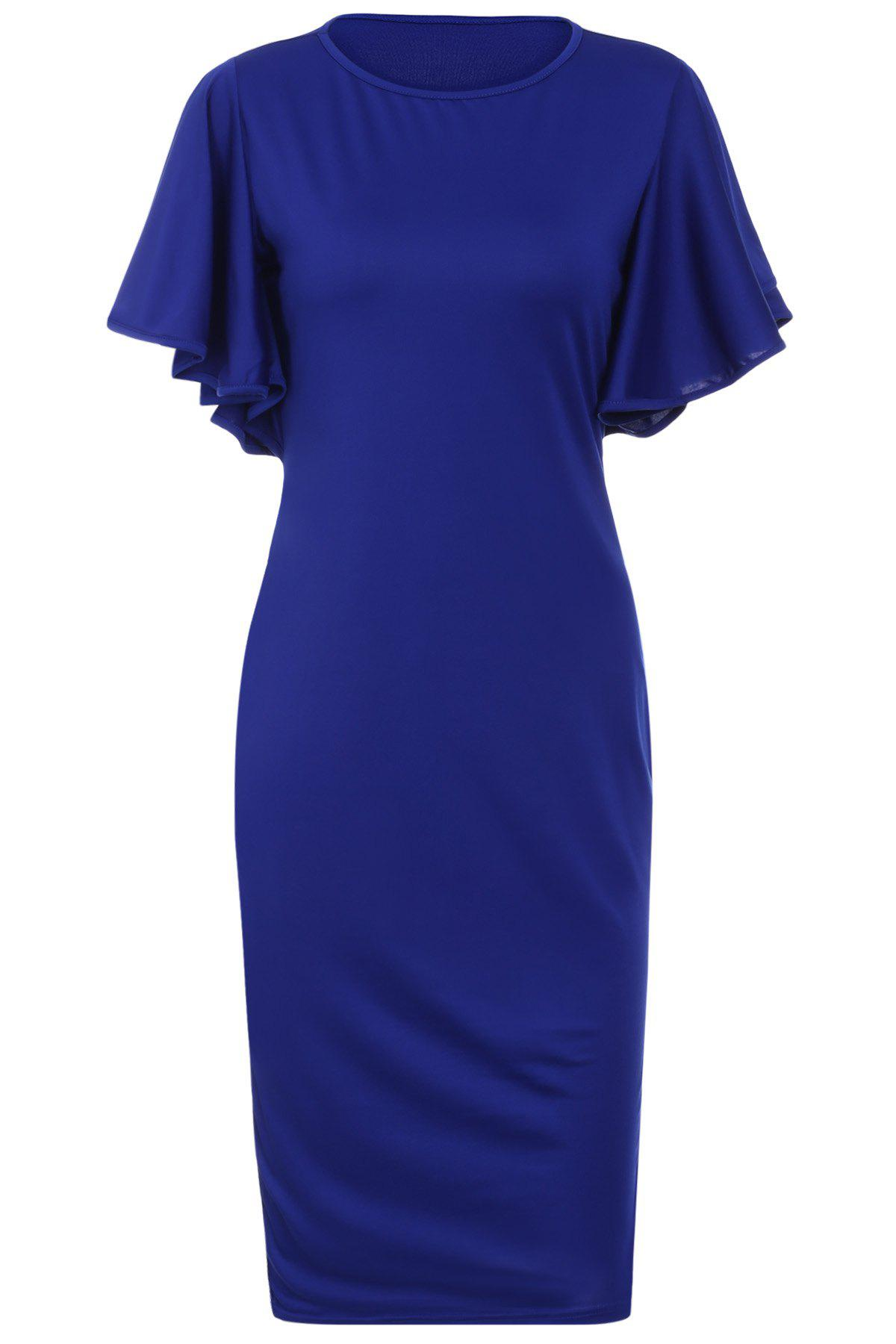 Elegant Jewel Neck Solid Color Butterfly Sleeve Bodycon Midi Dress For Women - S BLUE