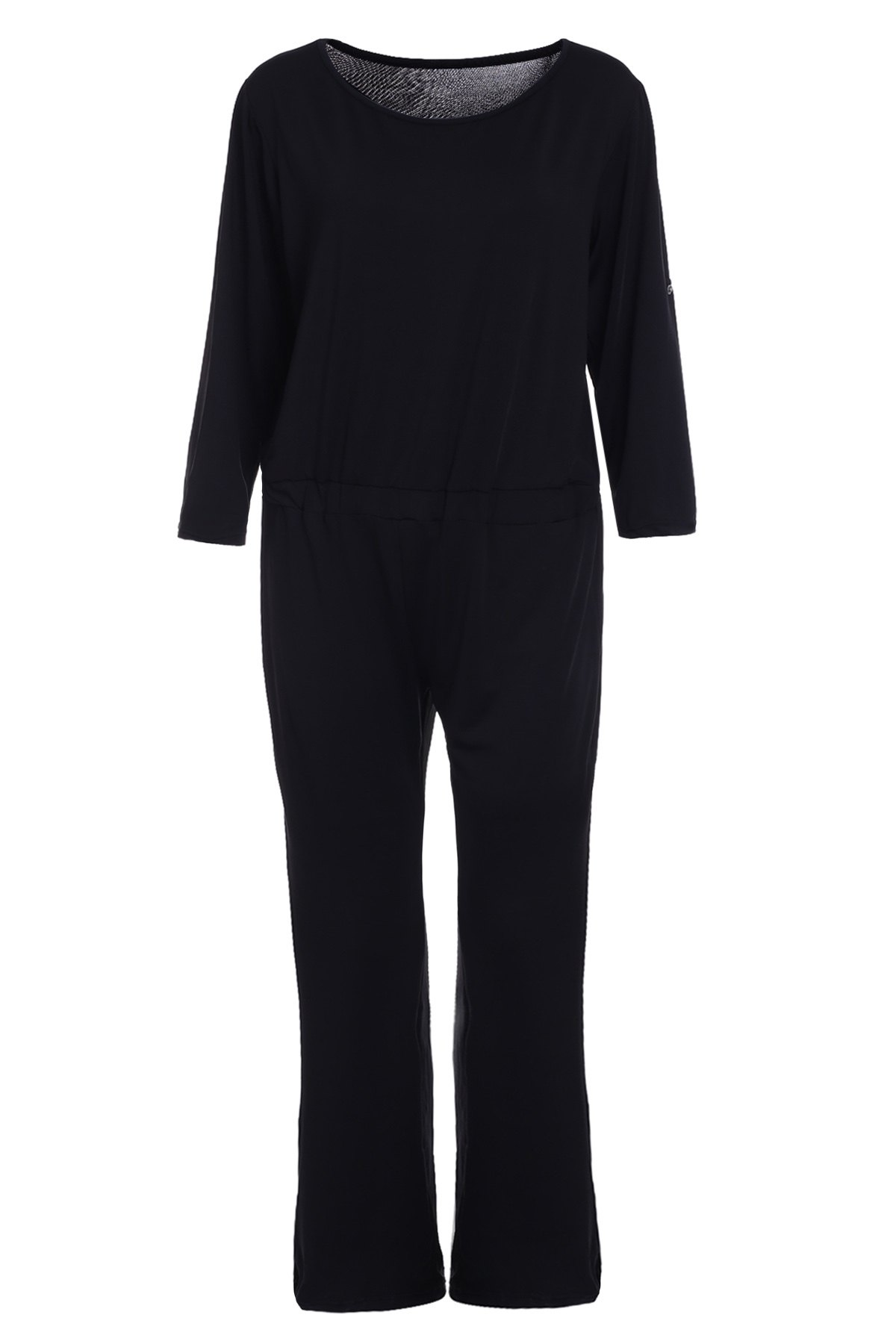 Elegant Women's Round Neck Black Jumpsuit - BLACK S
