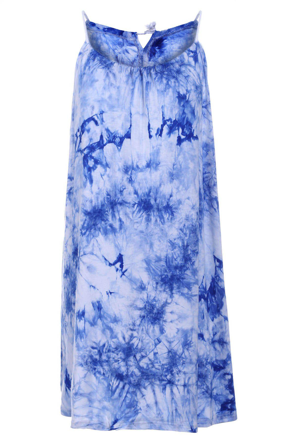 Chic Sleeveless Spaghetti Strap Tie Dye Women's Dress - BLUE XL