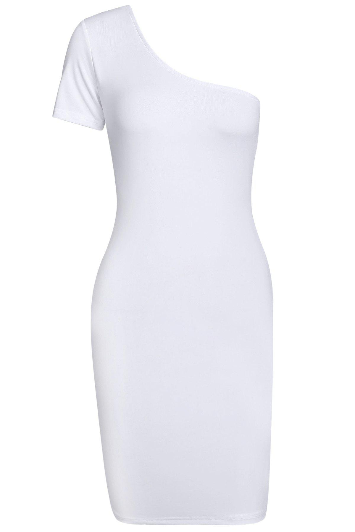 Sexy One Shoulder Short Sleeve Solid Color Women's Bodycon Dress - WHITE XL