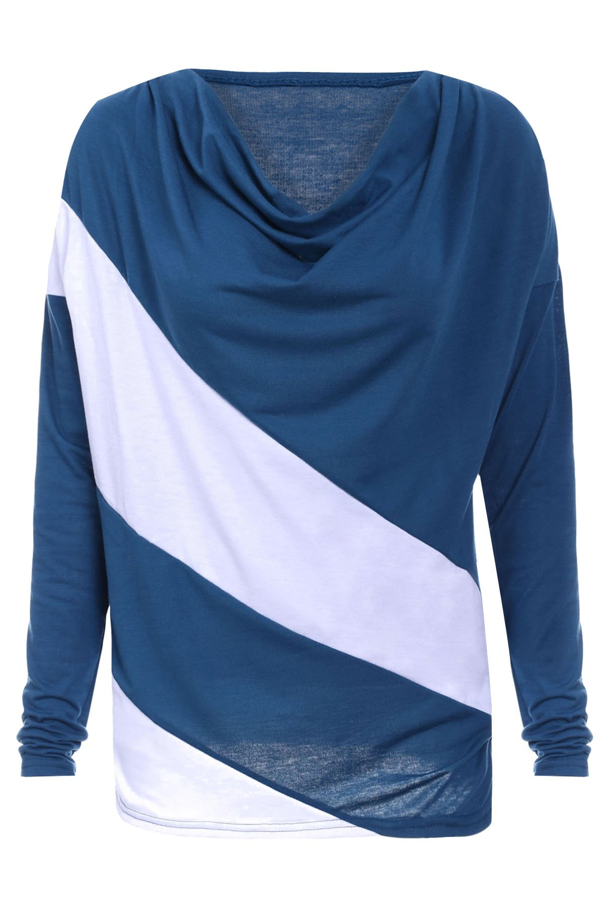 Cowl Neck Long Sleeve Hit Color T-Shirt For Women