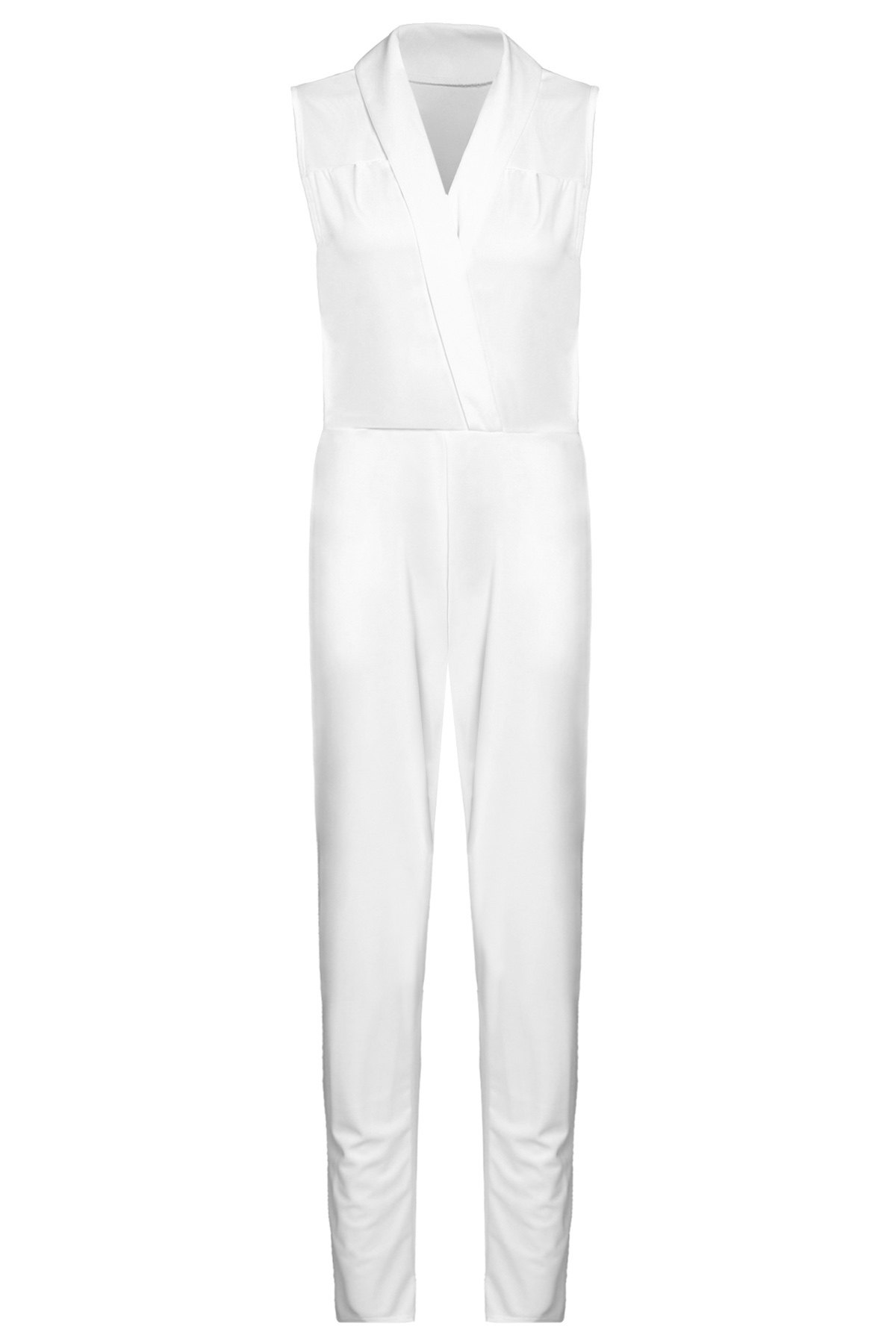 Stylish Sleeveless Turn-Down Collar Solid Color Women's Jumpsuit - WHITE S