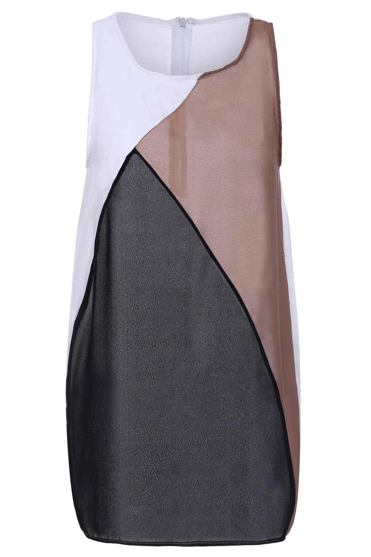 Elegant Round Collar Sleeveless Color Block Bodycon Dress For Women - COLORMIX L