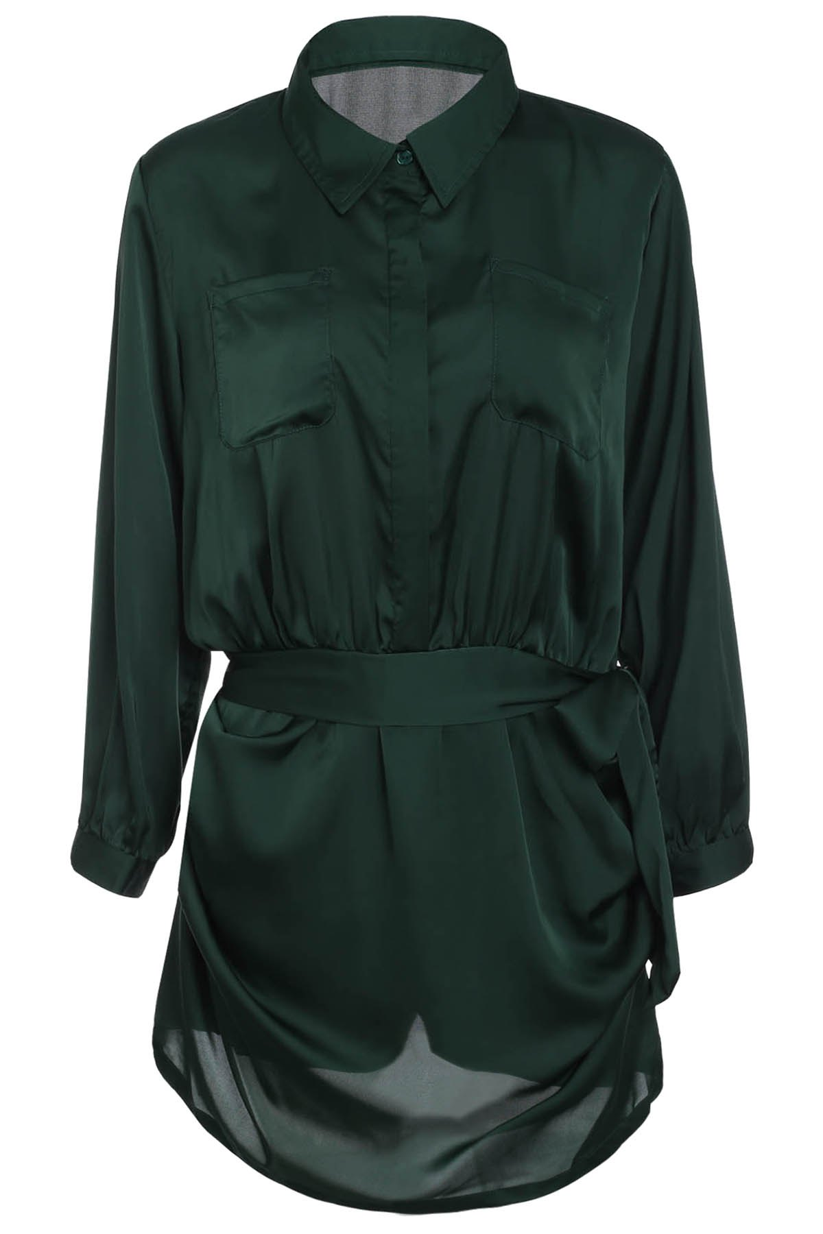 Brief Women's Polo Collar Army Green Long Sleeve Romper - ARMY GREEN S