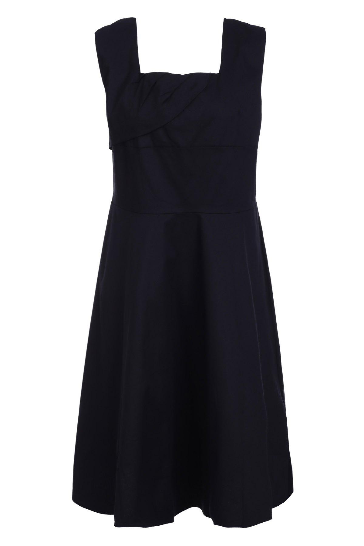 Retro Style Square Neck Sleeveless Solid Color Women's Ball Gown Dress - BLACK 3XL