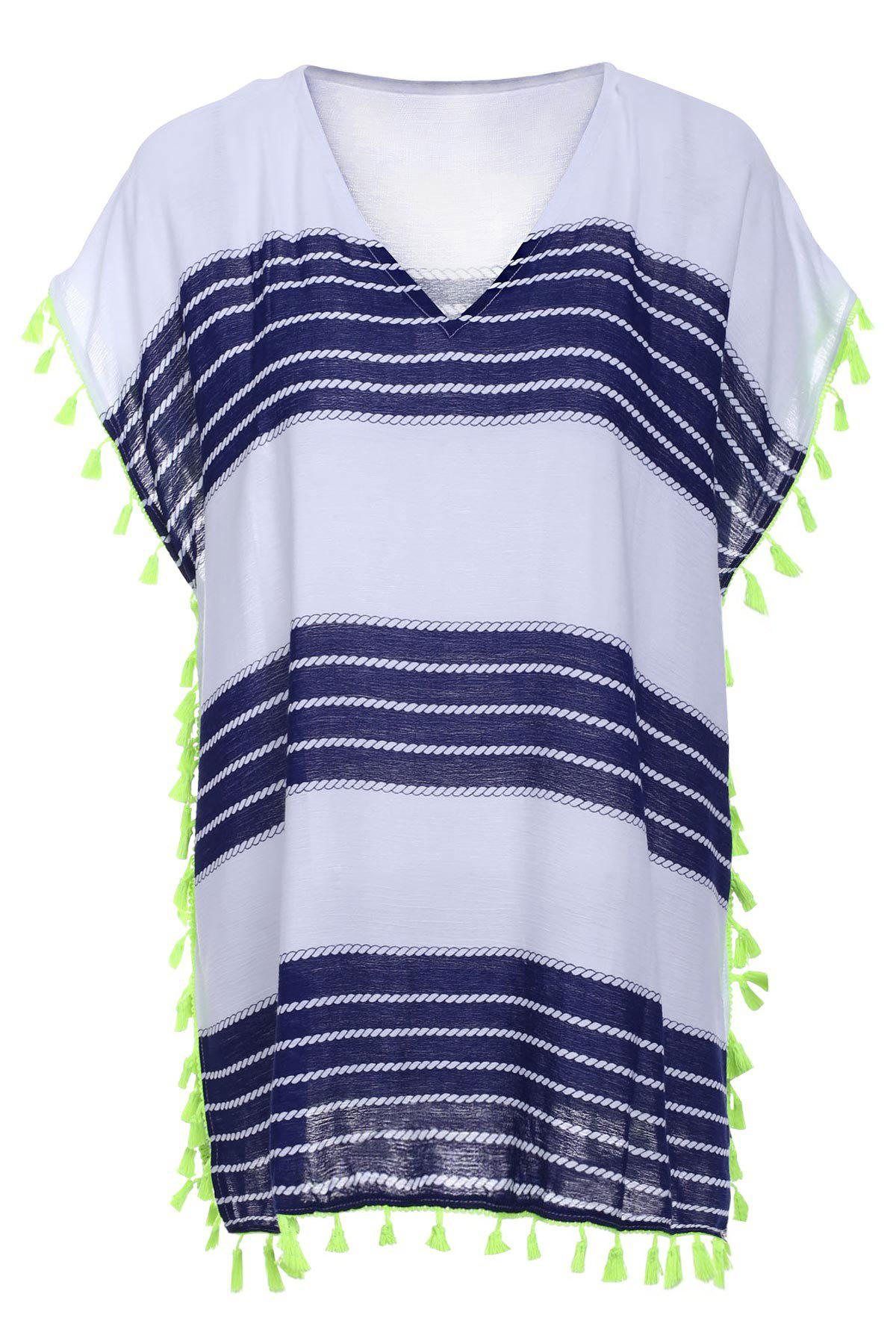 Stylish V-Neck Short Sleeve Striped Fringed Women's Cover-Up - BLUE/WHITE ONE SIZE(FIT SIZE XS TO M)