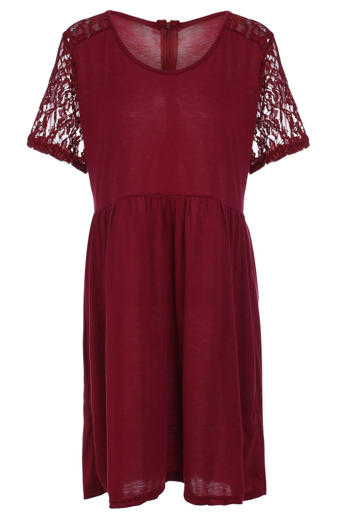 Stylish Women's Scoop Neck Lace Splicing Short Sleeve Plus Size Dress - WINE RED XL