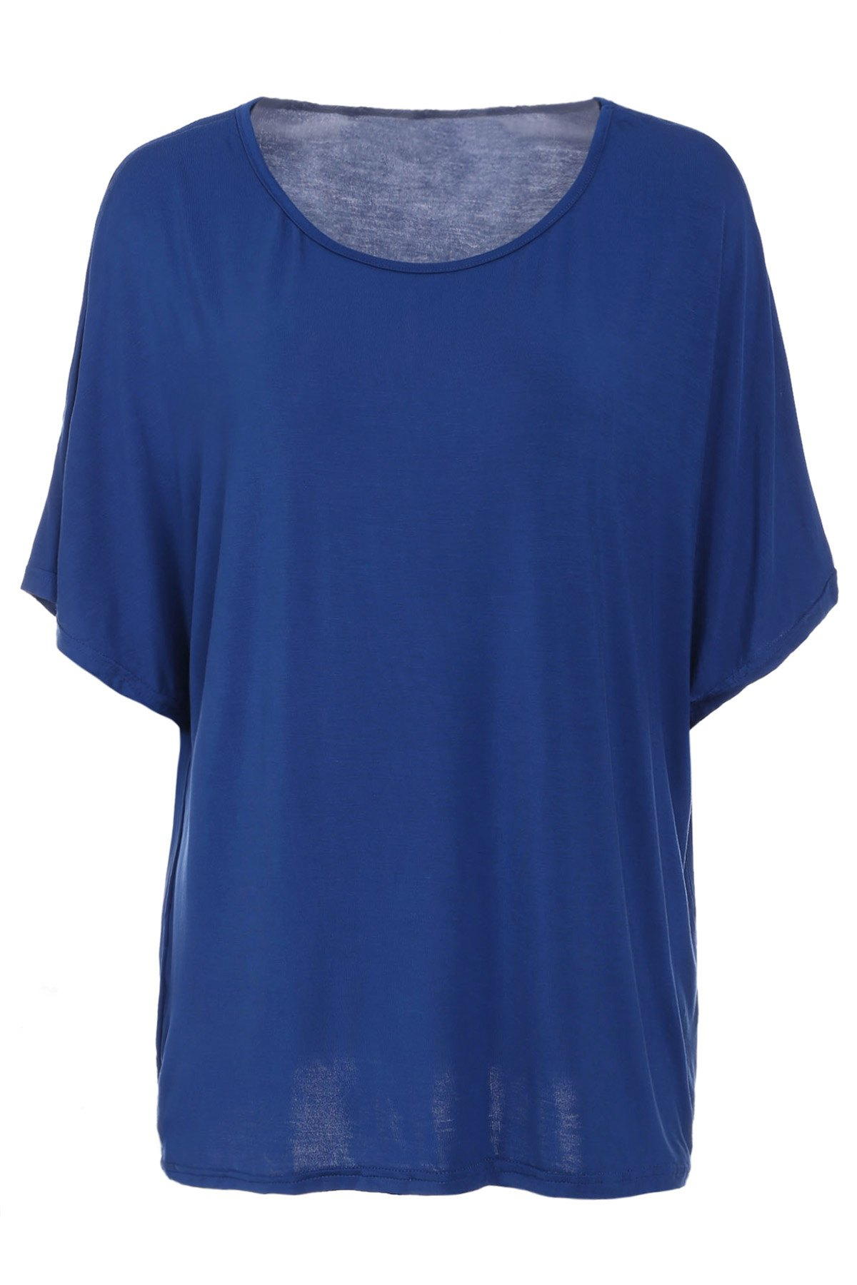 Trendy Batwing Sleeve Scoop Neck Loose-Fitting Solid Color Women's T-Shirt - CADETBLUE L