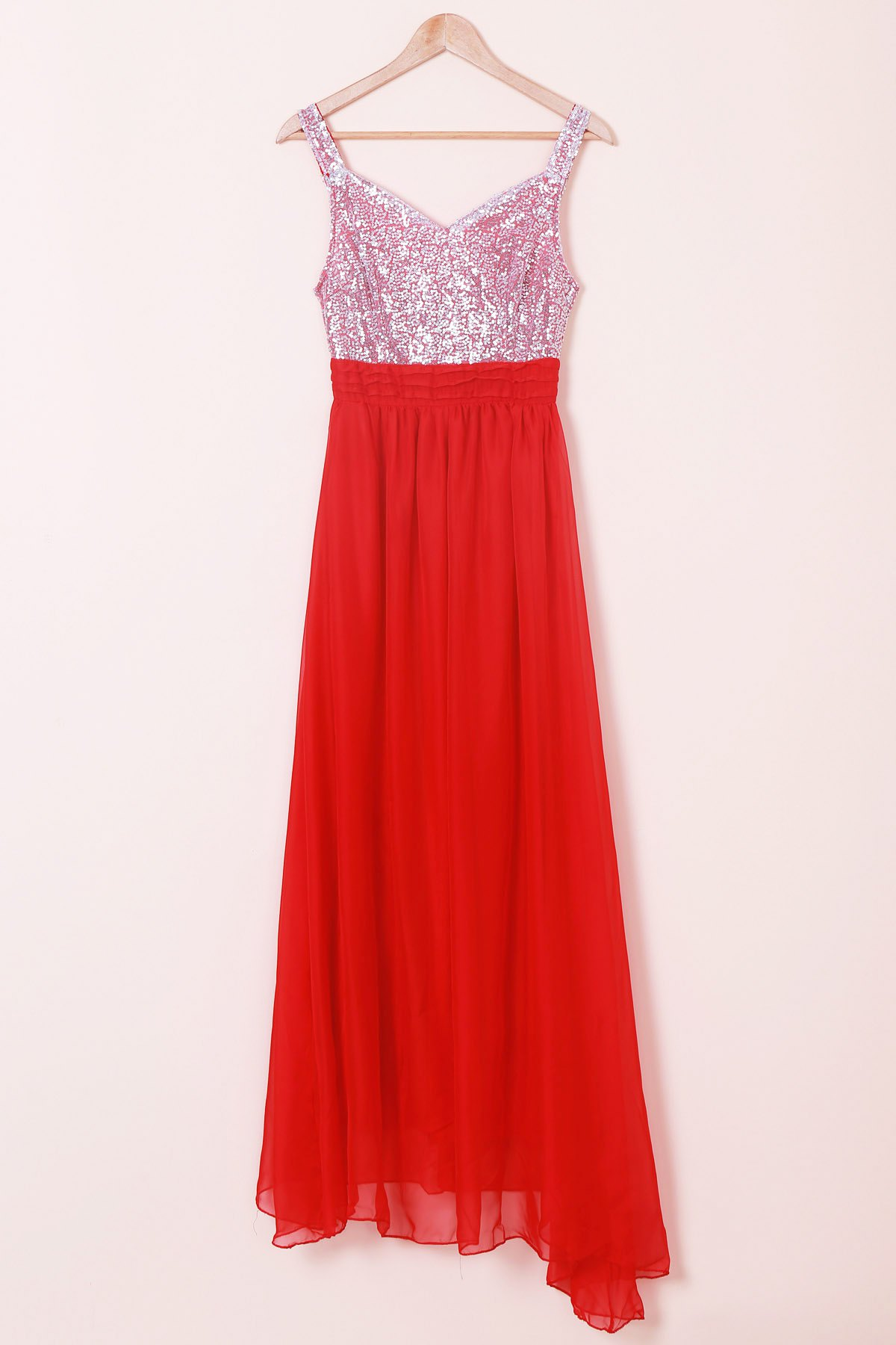 Elegant Sweetheart Neck Sleeveless Color Block Sequined Women's Dress - RED XL