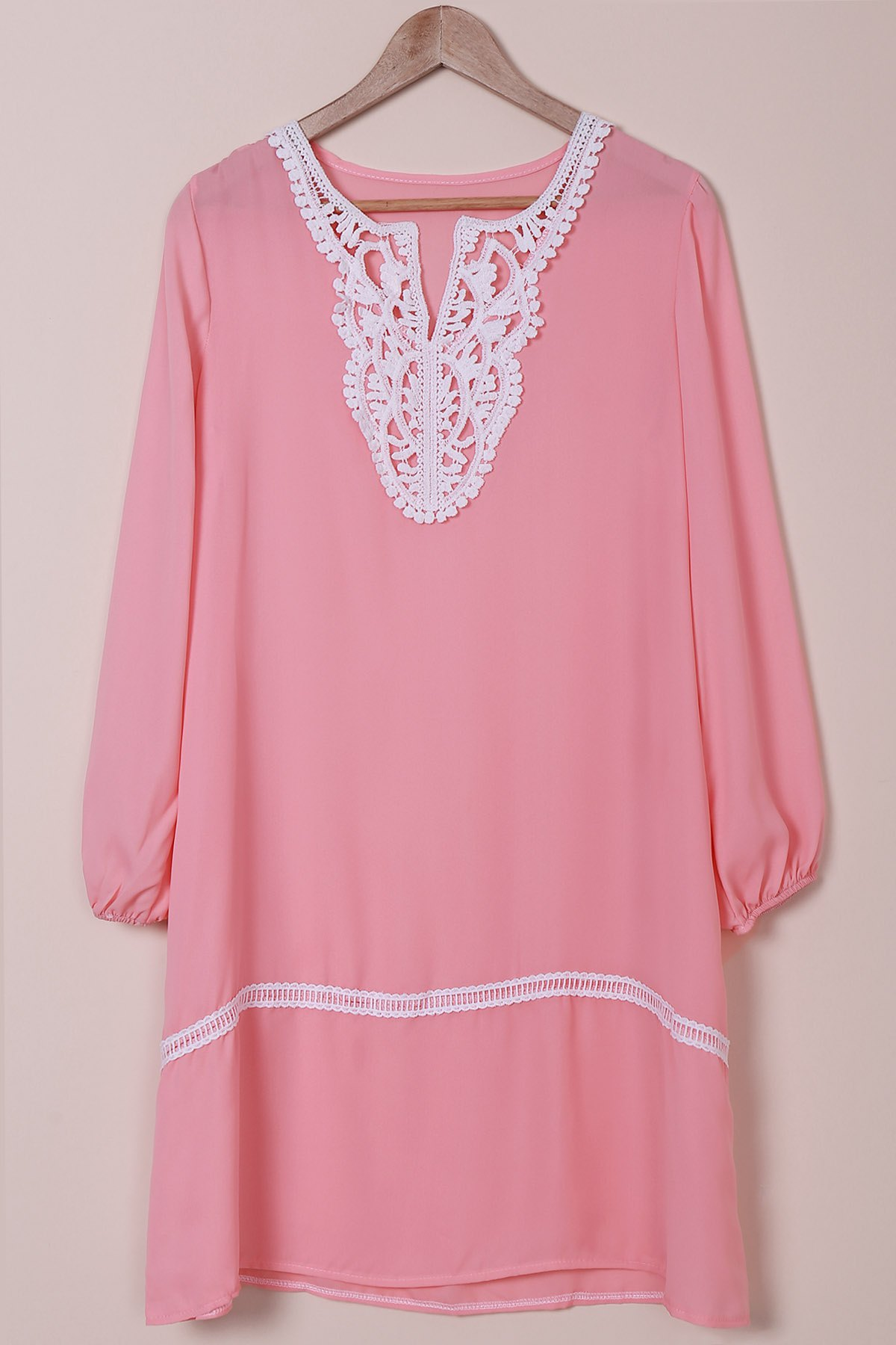 Graceful Long Sleeve V-Neck Hollow Out Loose-Fitting Women's Dress - PINK XL