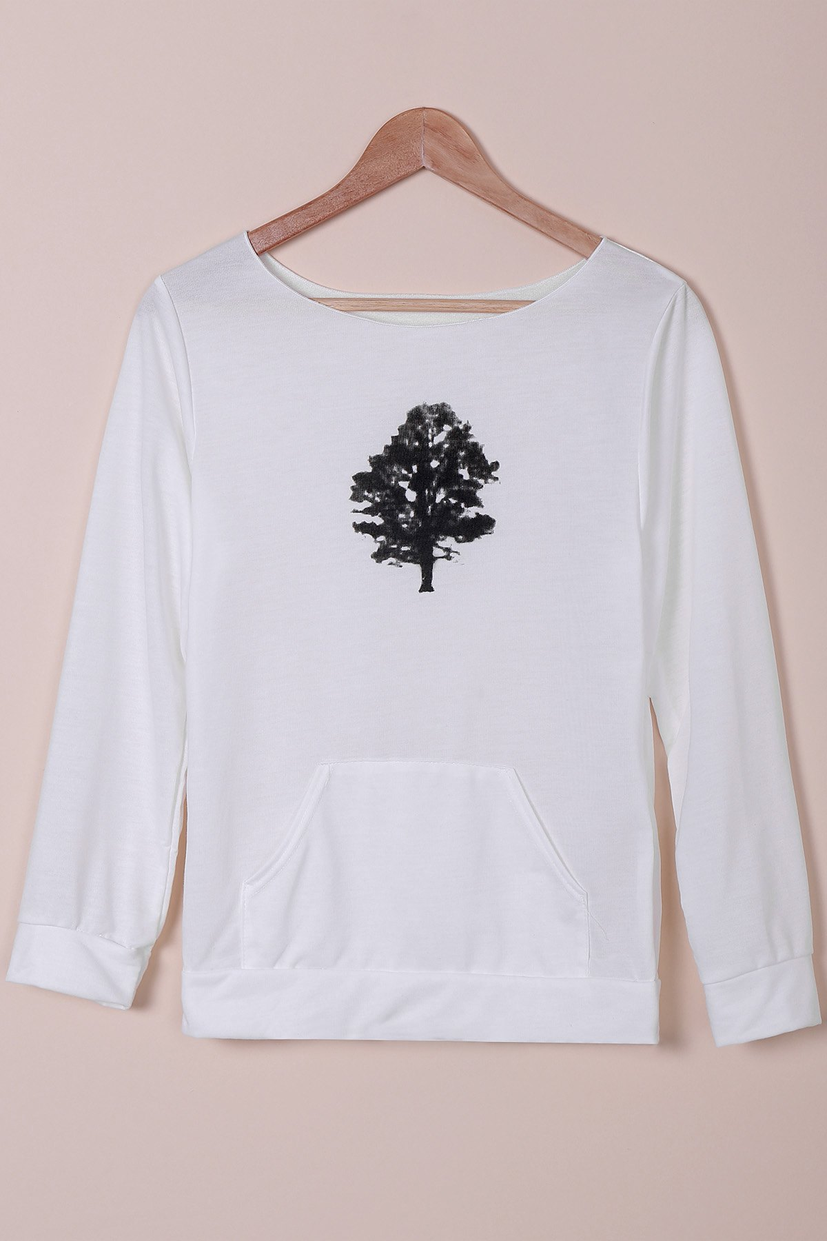 Women's Chic Plants Print Long Sleeve Sweatshirt - WHITE S
