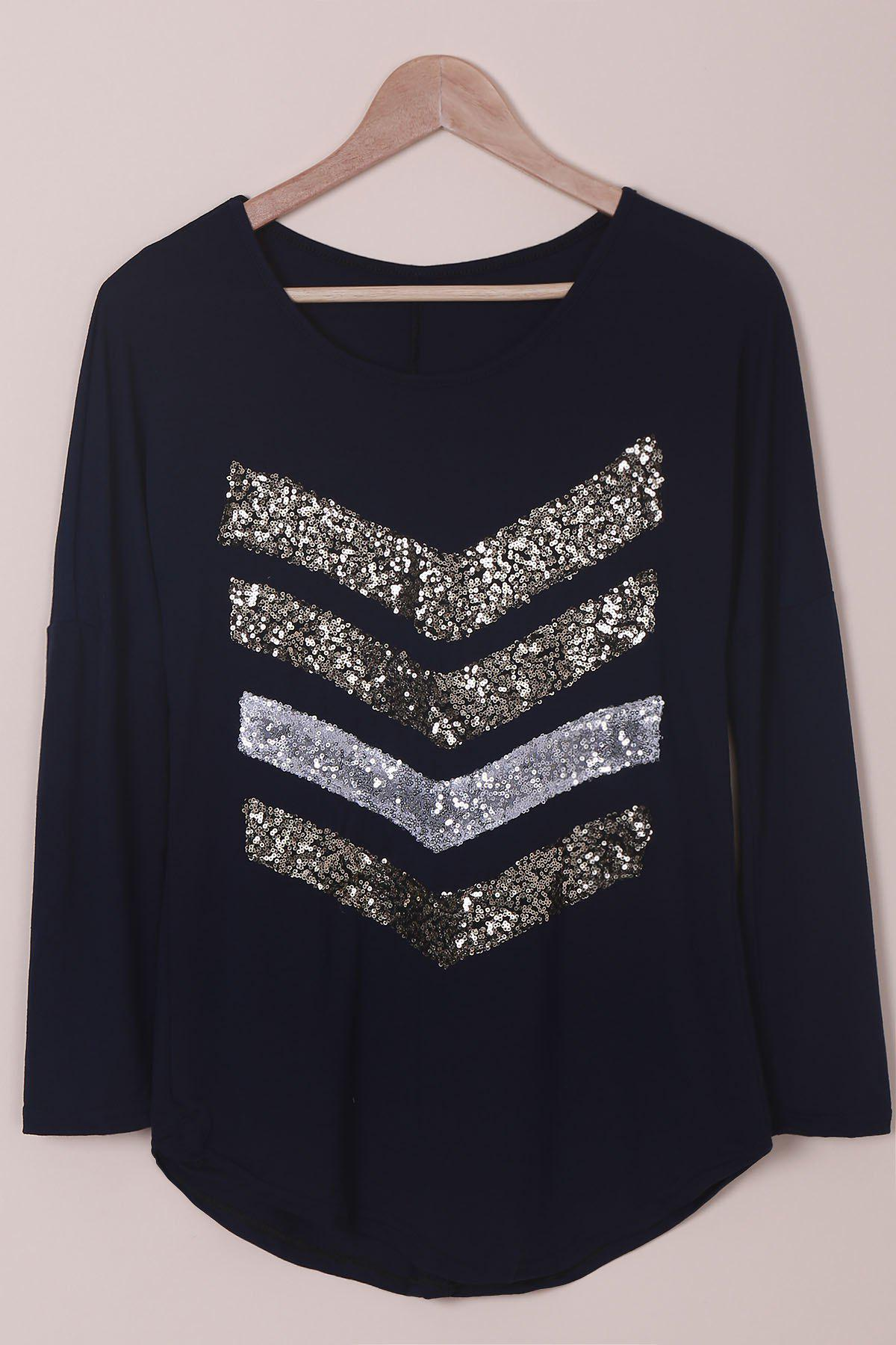 Attractive Sequined Long Sleeve T-Shirt For Women