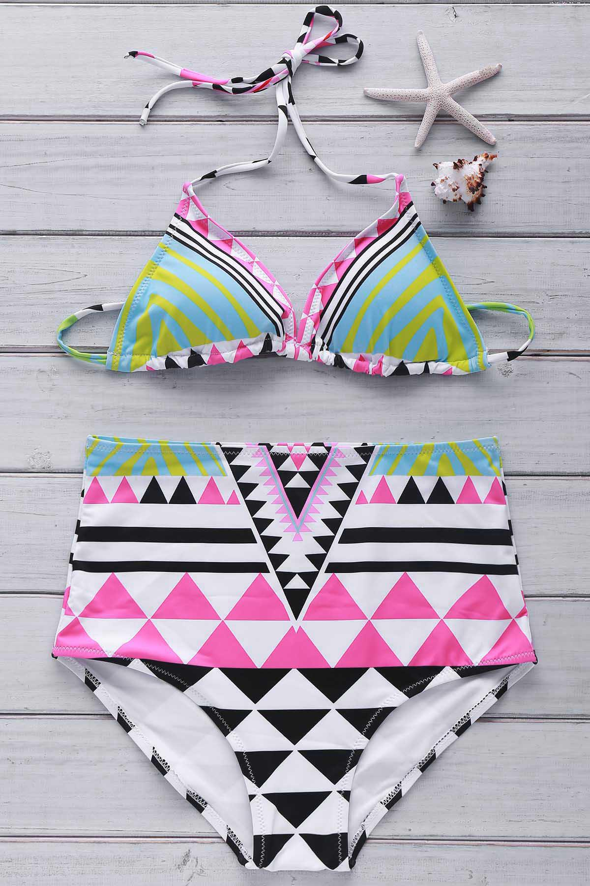 Ethnic Style Halter Argyle Backless High Waist Elastic Women's Bikini Set - COLORMIX M