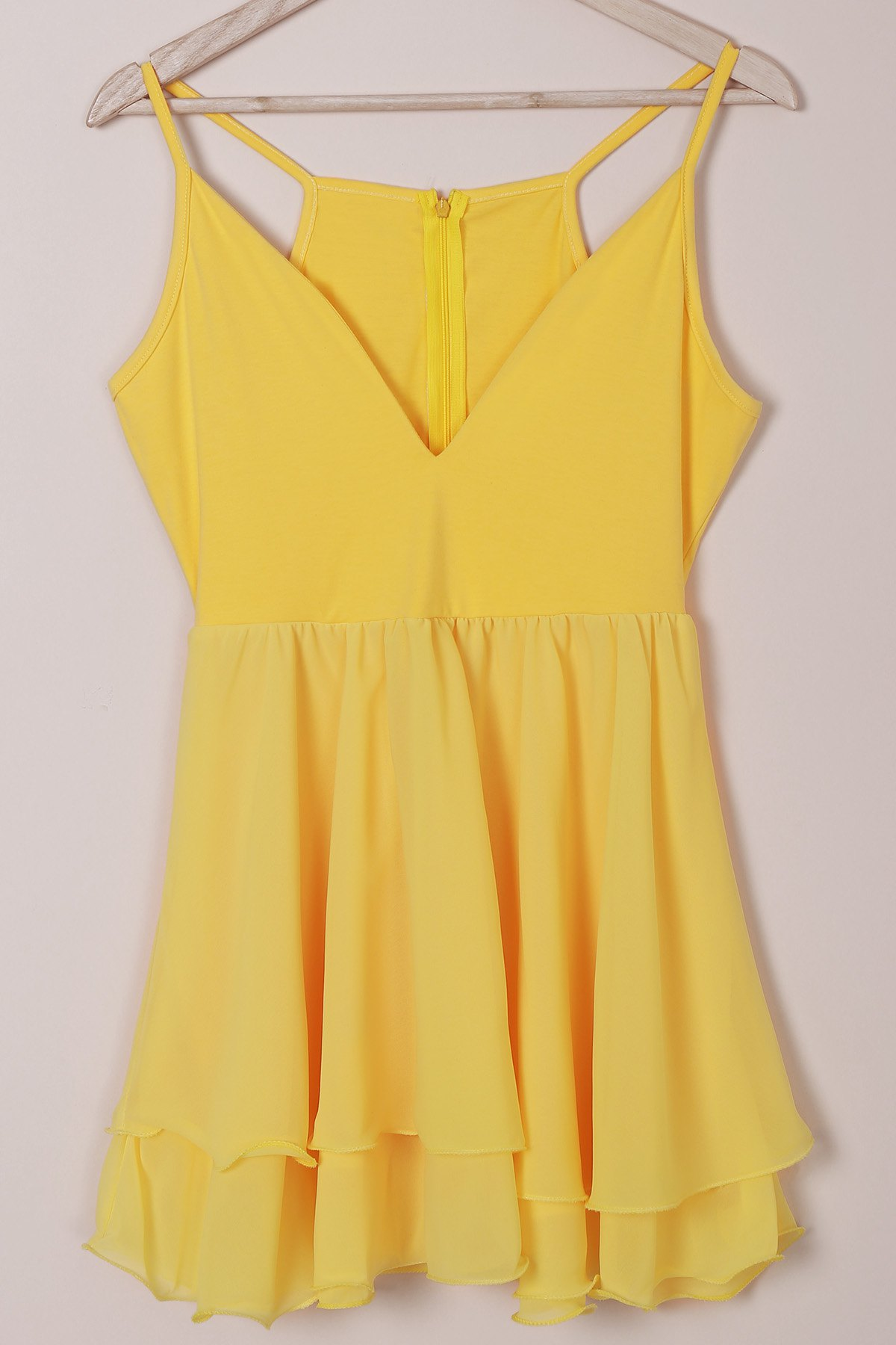 Sexy Women's Plunging Neck Spaghetti Strap Layered Flounced Dress - YELLOW M